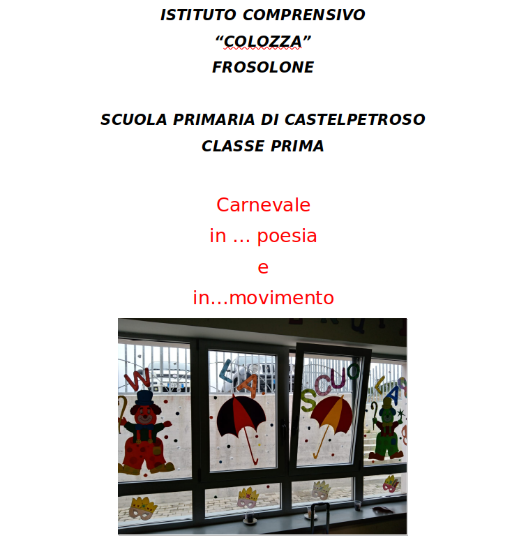 Carnevale in … poesia e in…movimento
