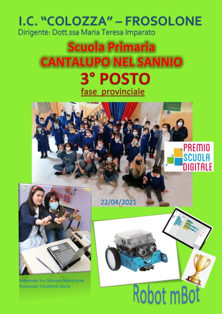 Premio Scuola Digitale 2021: La Scuola Primaria di Cantalupo nel Sannio si classifica al 3° posto nella fase finale provinciale